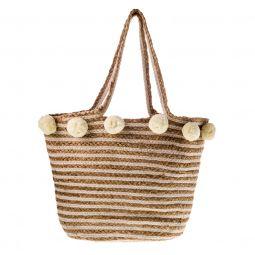 Τσάντα χειροποίητη από ψάθα με ρίγες (44cm x 34cm χ 20cm) διακοσμητικά πον- 4c392f95ce1
