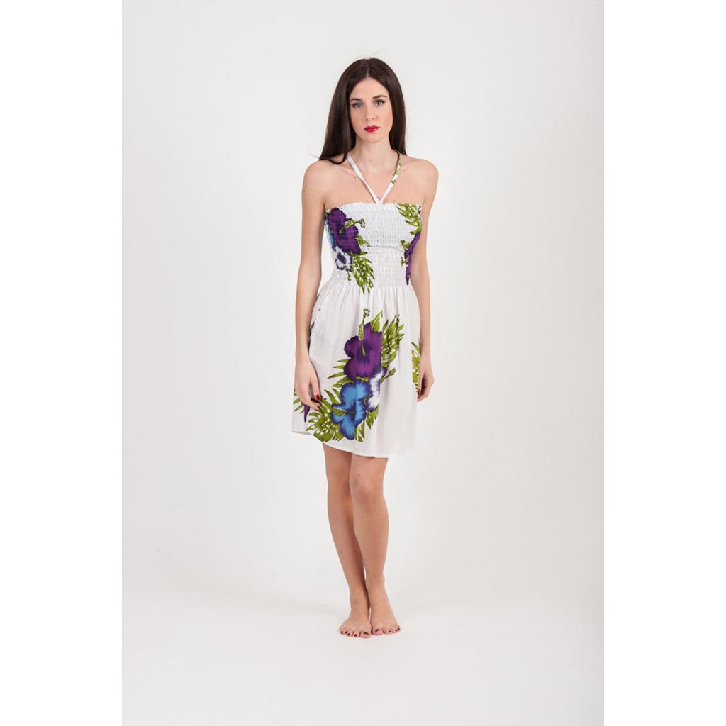 Φόρεμα κοντό με ελαστικό μπούστο με λουλούδια - 4Queens.gr 2ceaa97b042
