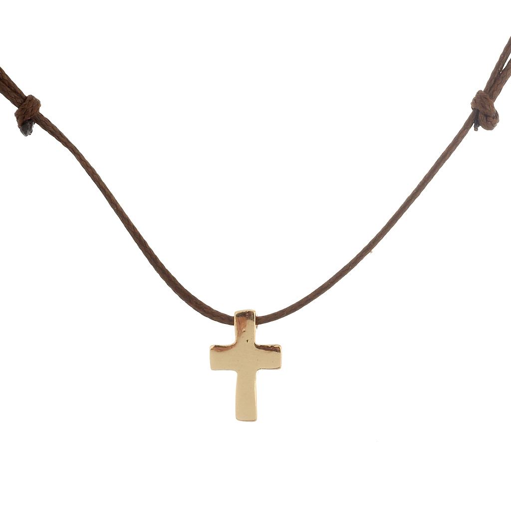 Μενταγιόν με κορδόνι   μεταλλικό μικρό σταυρό - 4Queens.gr 4ebd325ea85