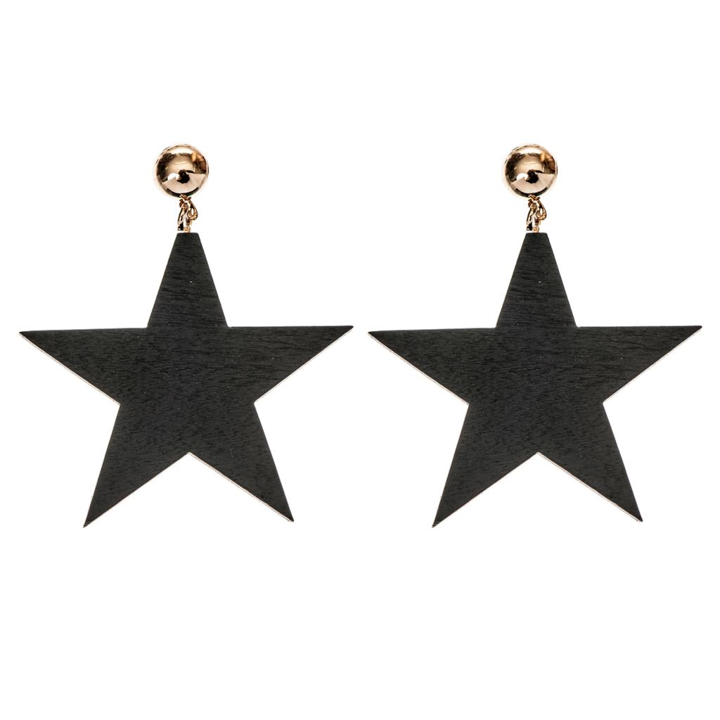 Σκουλαρίκια ξύλινα αστέρια - 4Queens.gr 7b0f2a5d682