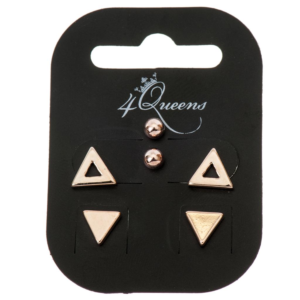 8767869569 Σκουλαρίκια μικρά σε σέτ των 3 ζευγαριών - 4Queens.gr