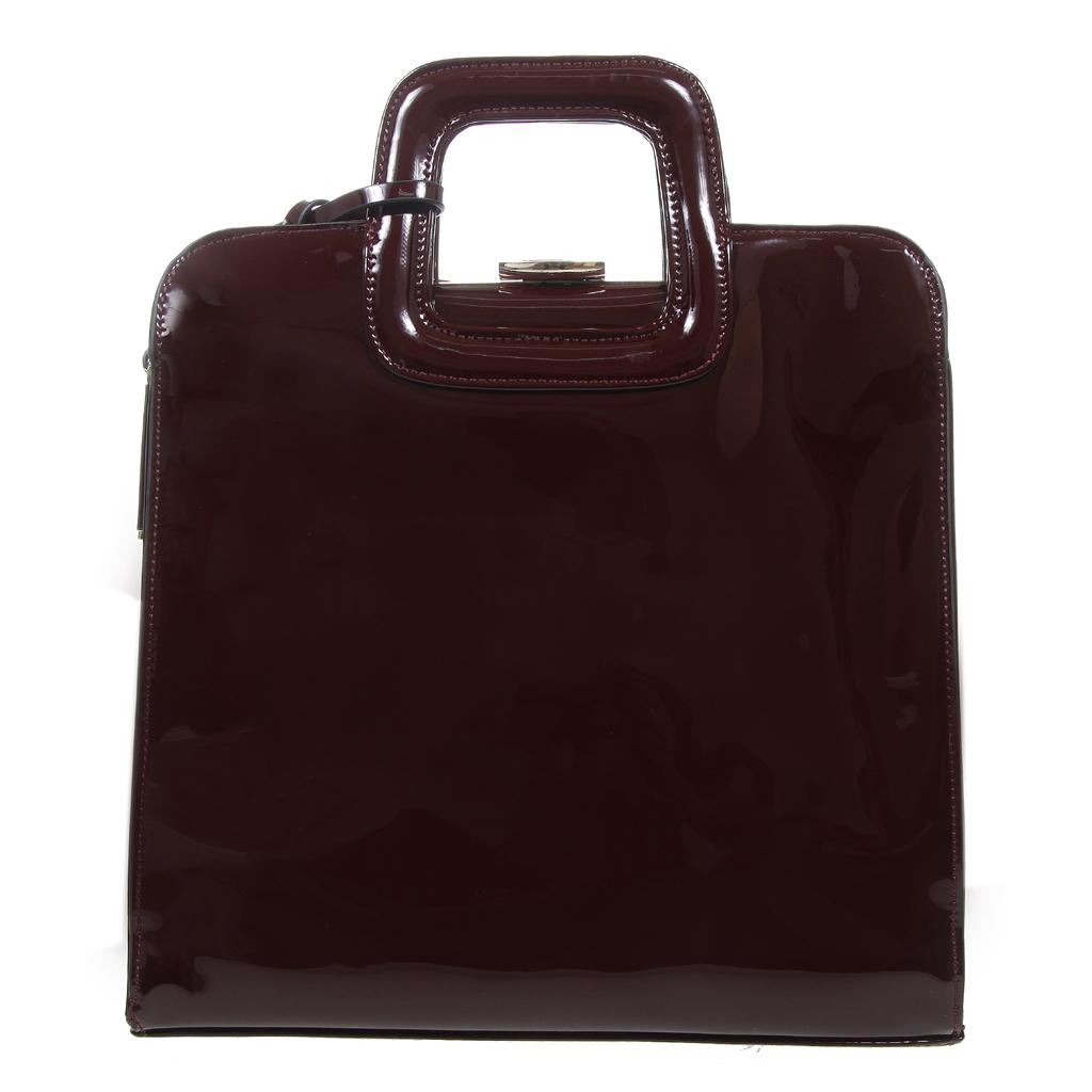 8655734543 Τσάντα καθημερινή από γυαλιστερό PU   μεταλλικό πλαίσιο - 4Queens.gr